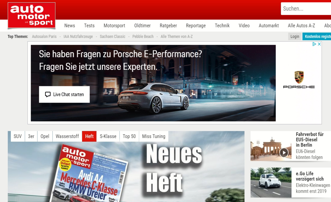 AutoMotorSport German Car magazine website showing banner advert with embedded invitation to live chat