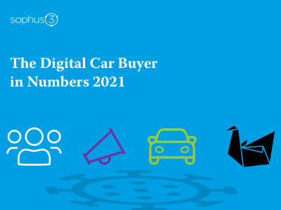 The Digital Car Buyer in Numbers 2021 front cover image featuring a black swan